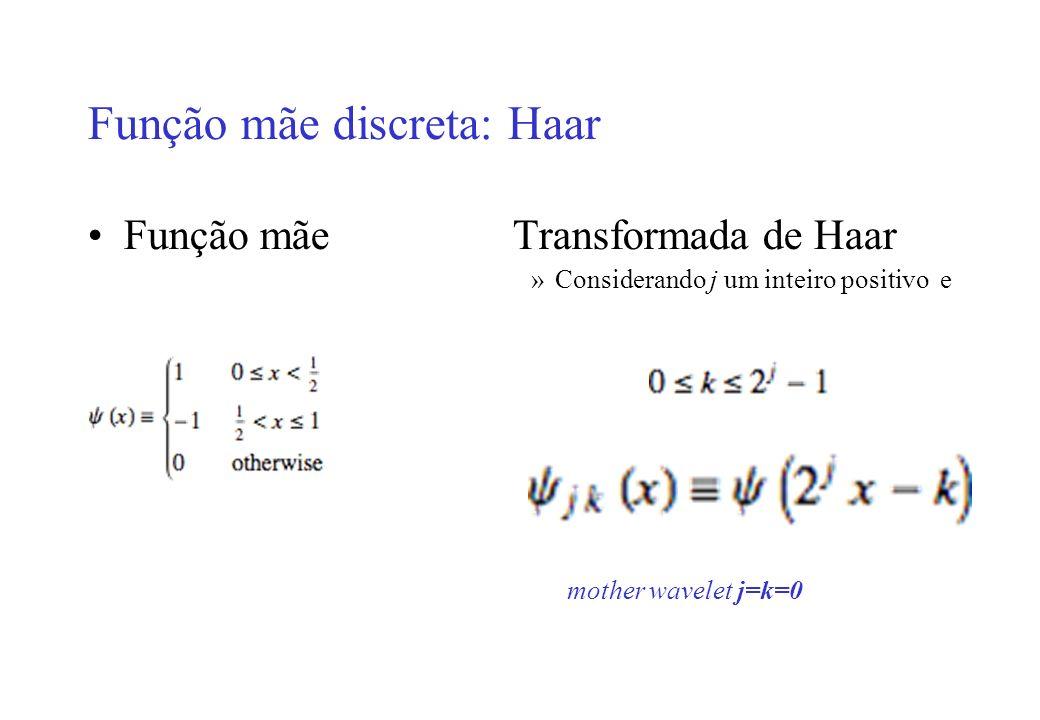 Função mãe discreta: Haar Função mãeTransformada de Haar »Considerando j um inteiro positivo e mother wavelet j=k=0