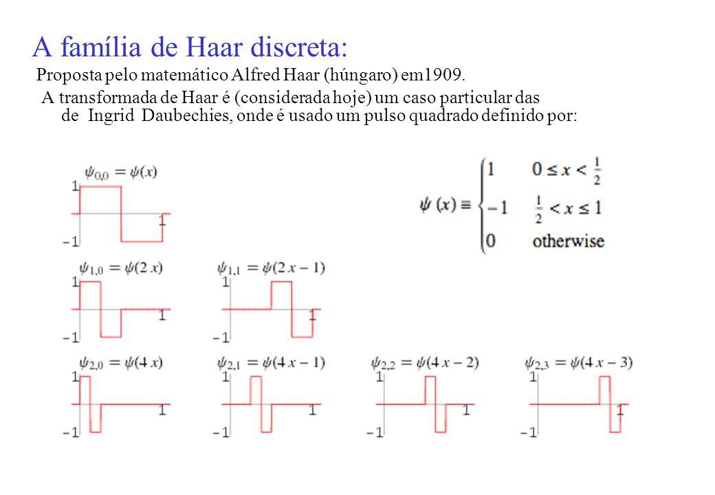 A família de Haar discreta: Proposta pelo matemático Alfred Haar (húngaro) em1909.