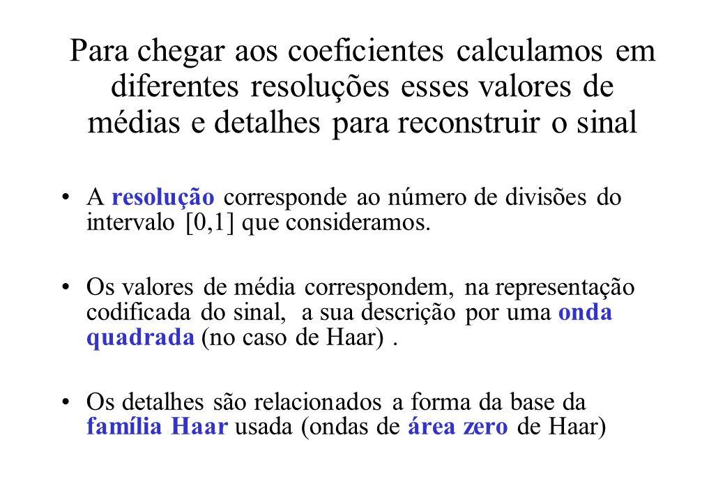 Para chegar aos coeficientes calculamos em diferentes resoluções esses valores de médias e detalhes para reconstruir o sinal A resolução corresponde ao número de divisões do intervalo [0,1] que consideramos.