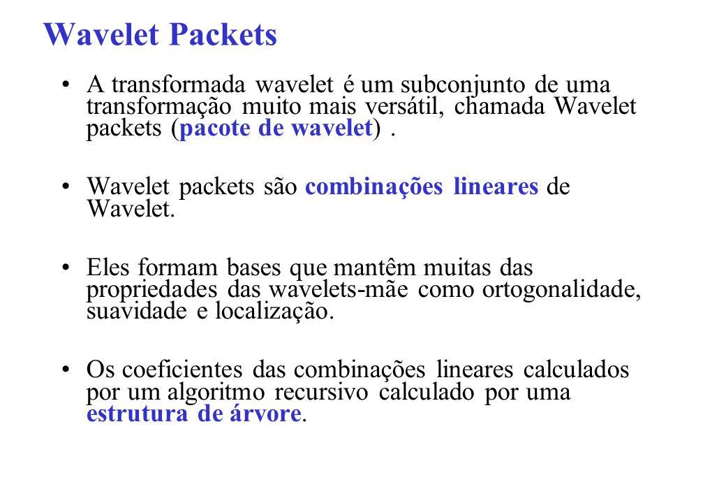Wavelet Packets A transformada wavelet é um subconjunto de uma transformação muito mais versátil, chamada Wavelet packets (pacote de wavelet).