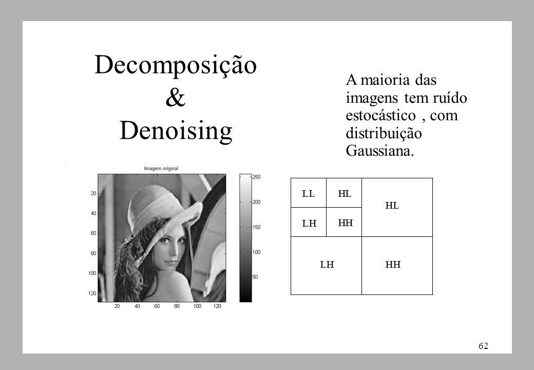 62 Decomposição & Denoising A maioria das imagens tem ruído estocástico, com distribuição Gaussiana.