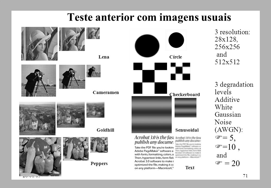 28/01/0971 Teste anterior com imagens usuais Lena Cameramen Goldhill Peppers Checkerboard Senusoidal Círcle Text 3 resolution: 28x128, 256x256 and 512