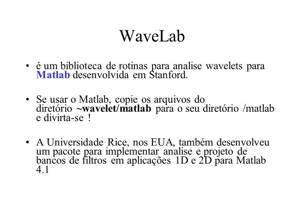 WaveLab é um biblioteca de rotinas para analise wavelets para Matlab desenvolvida em Stanford.