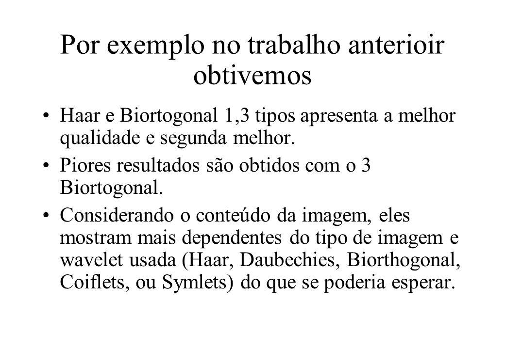 Por exemplo no trabalho anterioir obtivemos Haar e Biortogonal 1,3 tipos apresenta a melhor qualidade e segunda melhor.