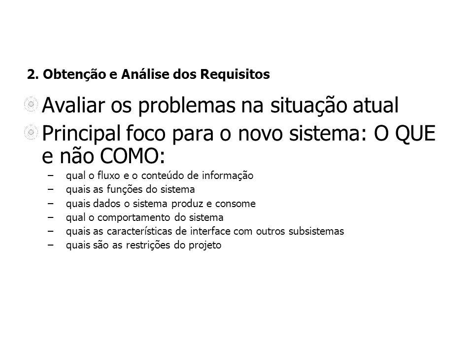 2. Obtenção e Análise dos Requisitos Avaliar os problemas na situação atual Principal foco para o novo sistema: O QUE e não COMO: – qual o fluxo e o c