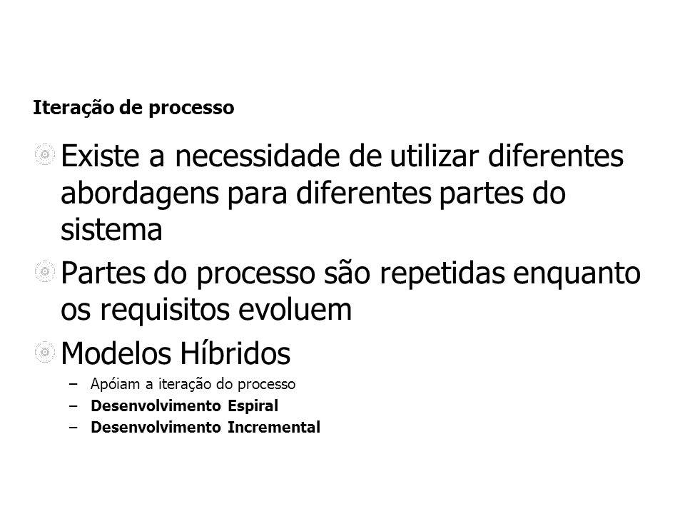 Iteração de processo Existe a necessidade de utilizar diferentes abordagens para diferentes partes do sistema Partes do processo são repetidas enquant