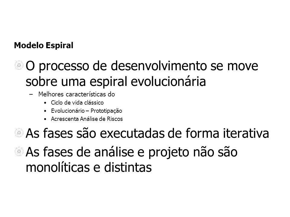 Modelo Espiral O processo de desenvolvimento se move sobre uma espiral evolucionária –Melhores características do Ciclo de vida clássico Evolucionário
