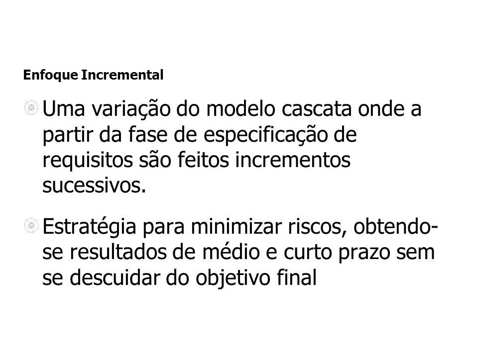 Enfoque Incremental Uma variação do modelo cascata onde a partir da fase de especificação de requisitos são feitos incrementos sucessivos. Estratégia