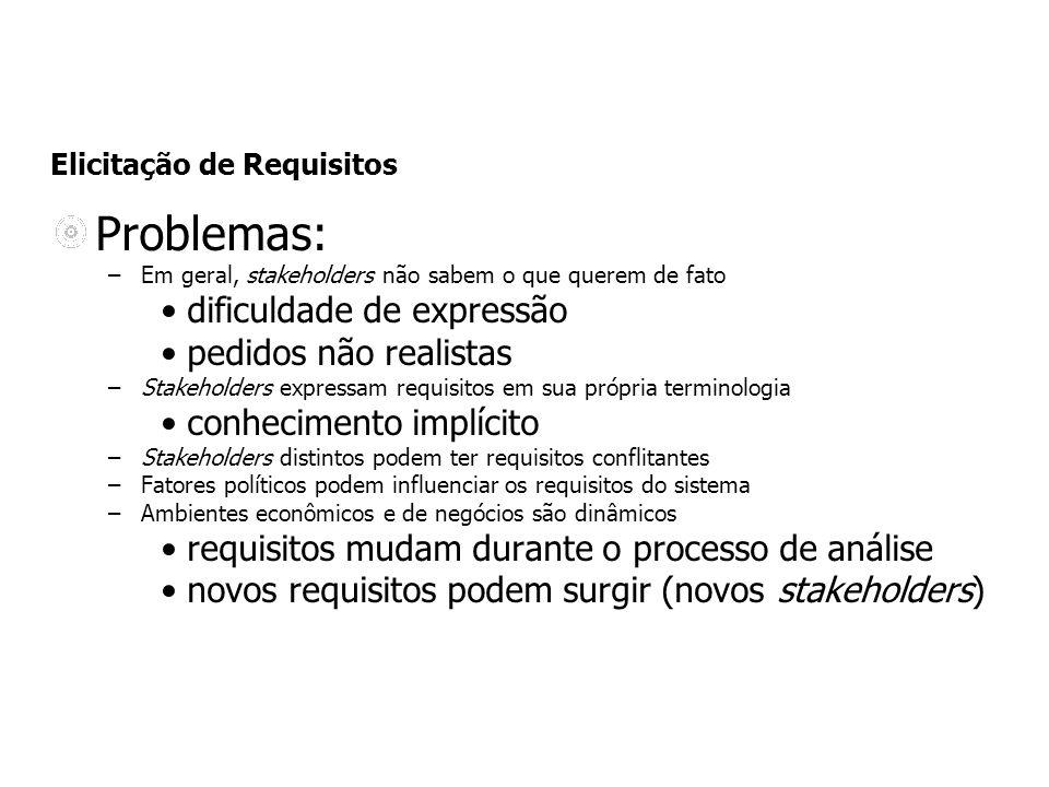 Elicitação de Requisitos Problemas: –Em geral, stakeholders não sabem o que querem de fato dificuldade de expressão pedidos não realistas –Stakeholder