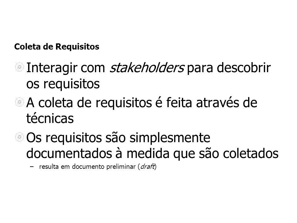 Coleta de Requisitos Interagir com stakeholders para descobrir os requisitos A coleta de requisitos é feita através de técnicas Os requisitos são simp