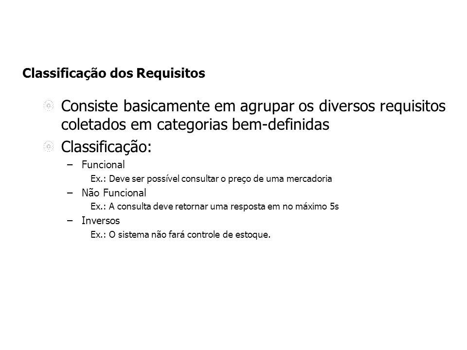 Classificação dos Requisitos Consiste basicamente em agrupar os diversos requisitos coletados em categorias bem-definidas Classificação: –Funcional Ex