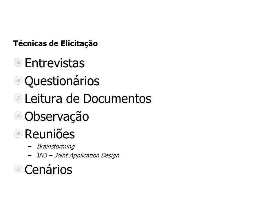 Entrevistas Questionários Leitura de Documentos Observação Reuniões –Brainstorming –JAD – Joint Application Design Cenários