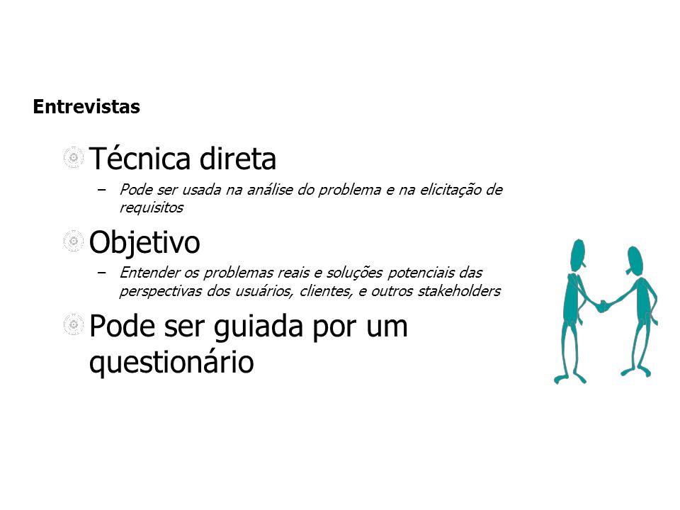 Entrevistas Técnica direta –Pode ser usada na análise do problema e na elicitação de requisitos Objetivo –Entender os problemas reais e soluções poten