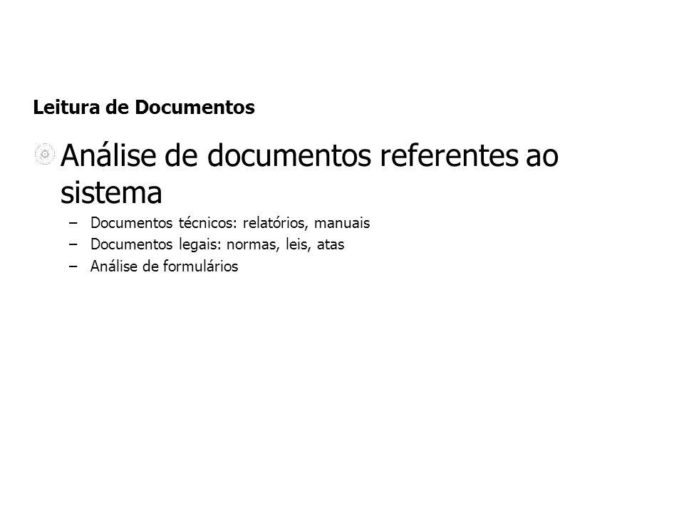 Análise de documentos referentes ao sistema –Documentos técnicos: relatórios, manuais –Documentos legais: normas, leis, atas –Análise de formulários L