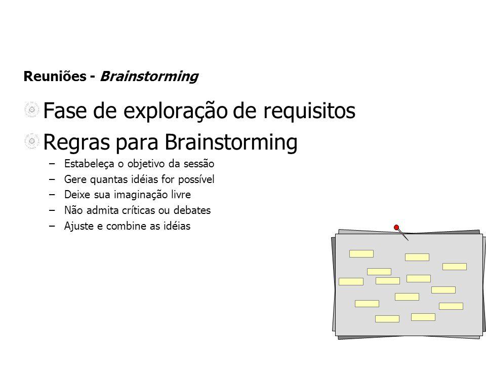 Reuniões - Brainstorming Fase de exploração de requisitos Regras para Brainstorming –Estabeleça o objetivo da sessão –Gere quantas idéias for possível
