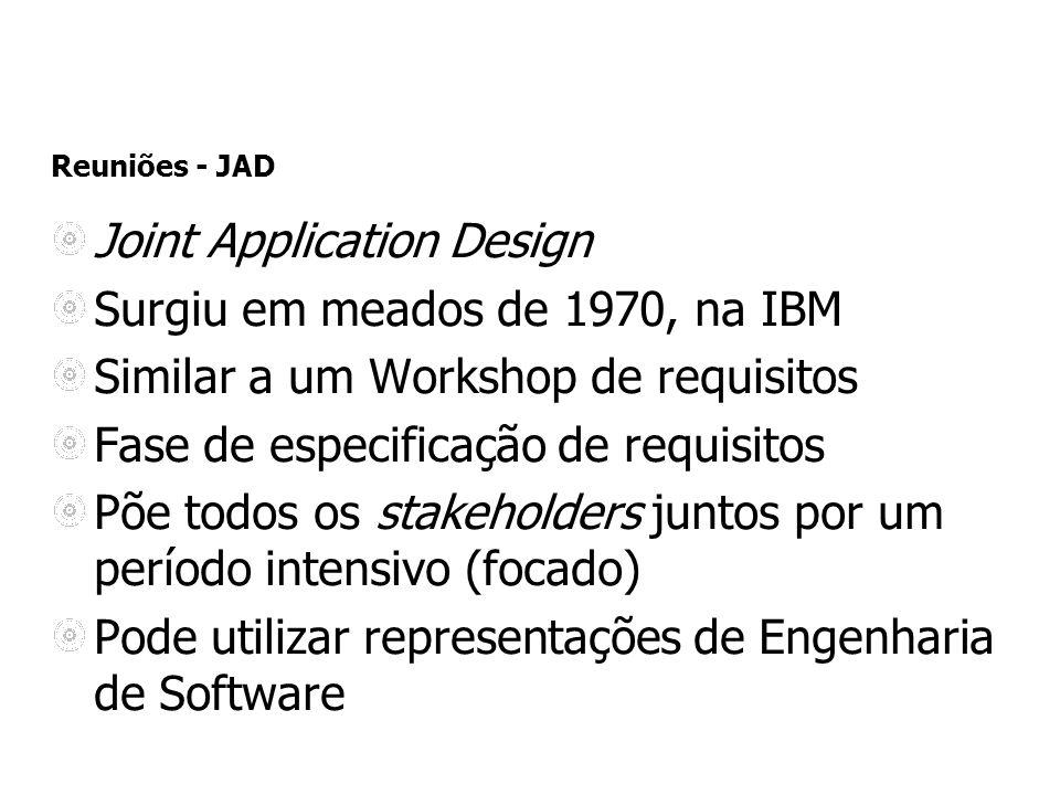 Reuniões - JAD Joint Application Design Surgiu em meados de 1970, na IBM Similar a um Workshop de requisitos Fase de especificação de requisitos Põe t