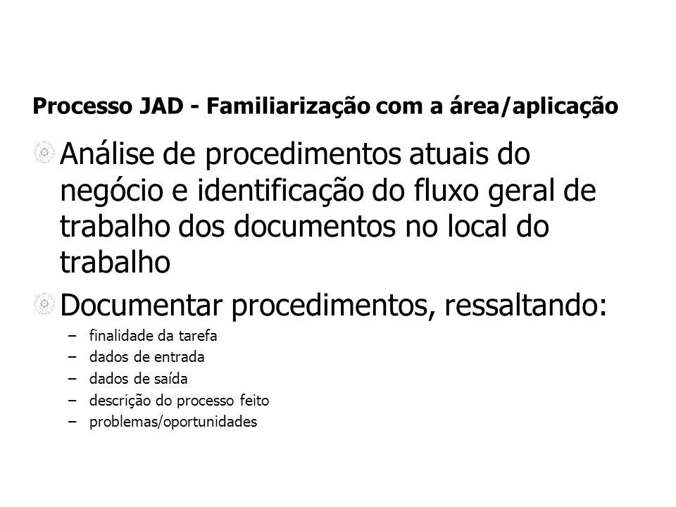 Processo JAD - Familiarização com a área/aplicação Análise de procedimentos atuais do negócio e identificação do fluxo geral de trabalho dos documento