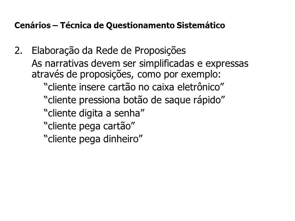 2.Elaboração da Rede de Proposições As narrativas devem ser simplificadas e expressas através de proposições, como por exemplo: cliente insere cartão