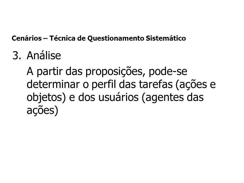 3.Análise A partir das proposições, pode-se determinar o perfil das tarefas (ações e objetos) e dos usuários (agentes das ações) Cenários – Técnica de