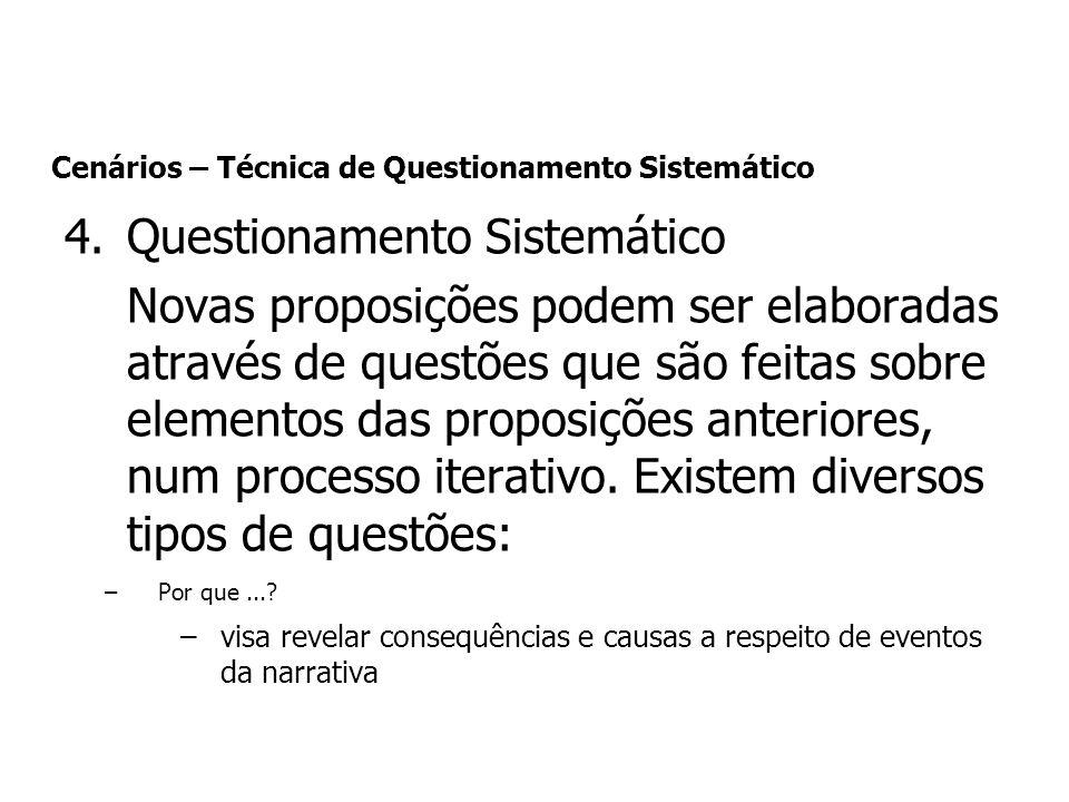 4.Questionamento Sistemático Novas proposições podem ser elaboradas através de questões que são feitas sobre elementos das proposições anteriores, num