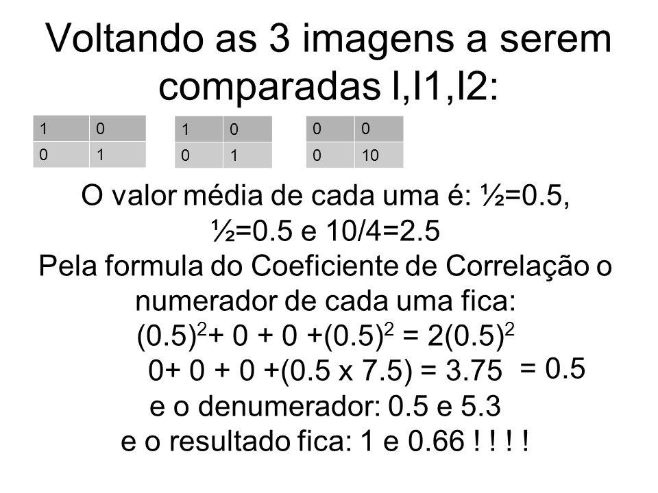 Voltando as 3 imagens a serem comparadas I,I1,I2: 10 01 10 01 00 010 O valor média de cada uma é: ½=0.5, ½=0.5 e 10/4=2.5 Pela formula do Coeficiente de Correlação o numerador de cada uma fica: (0.5) 2 + 0 + 0 +(0.5) 2 = 2(0.5) 2 0+ 0 + 0 +(0.5 x 7.5) = 3.75 e o denumerador: 0.5 e 5.3 e o resultado fica: 1 e 0.66 .