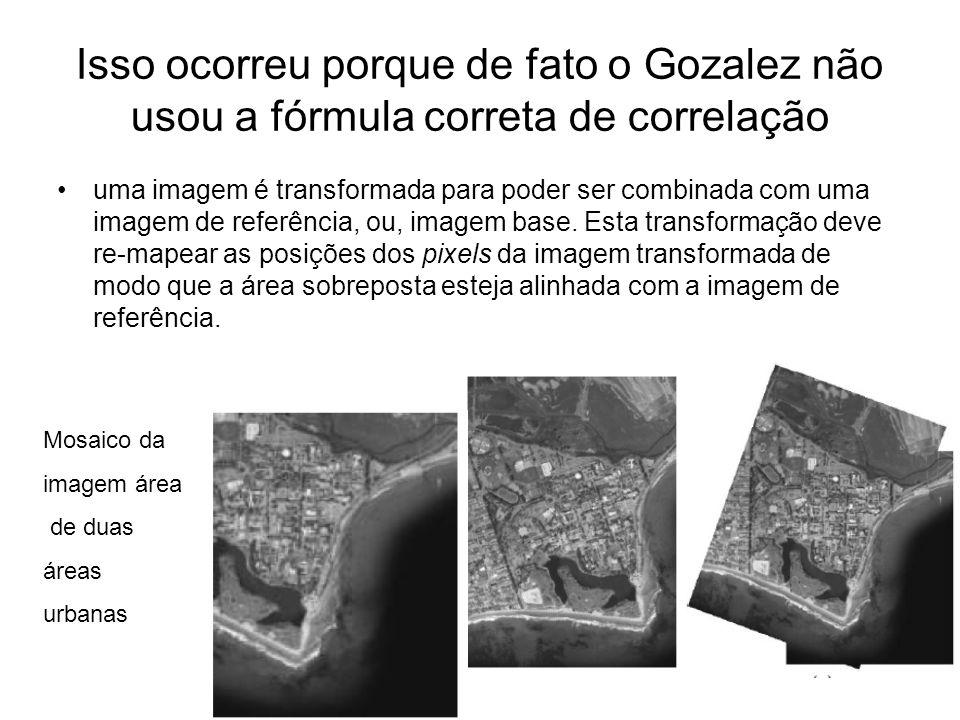 Isso ocorreu porque de fato o Gozalez não usou a fórmula correta de correlação uma imagem é transformada para poder ser combinada com uma imagem de re