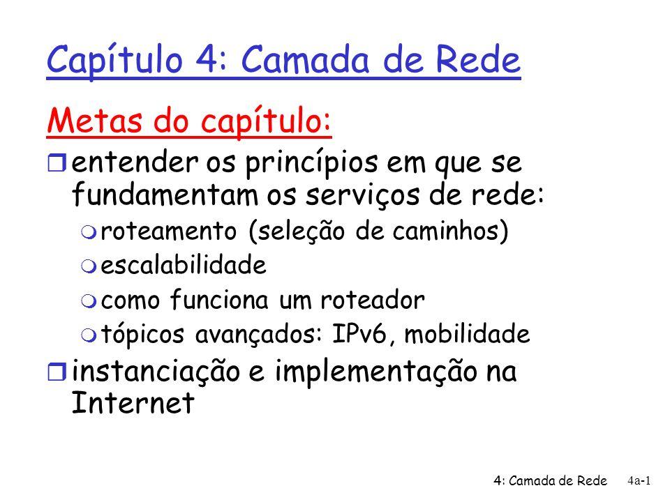 4: Camada de Rede 4a-1 Capítulo 4: Camada de Rede Metas do capítulo: r entender os princípios em que se fundamentam os serviços de rede: m roteamento
