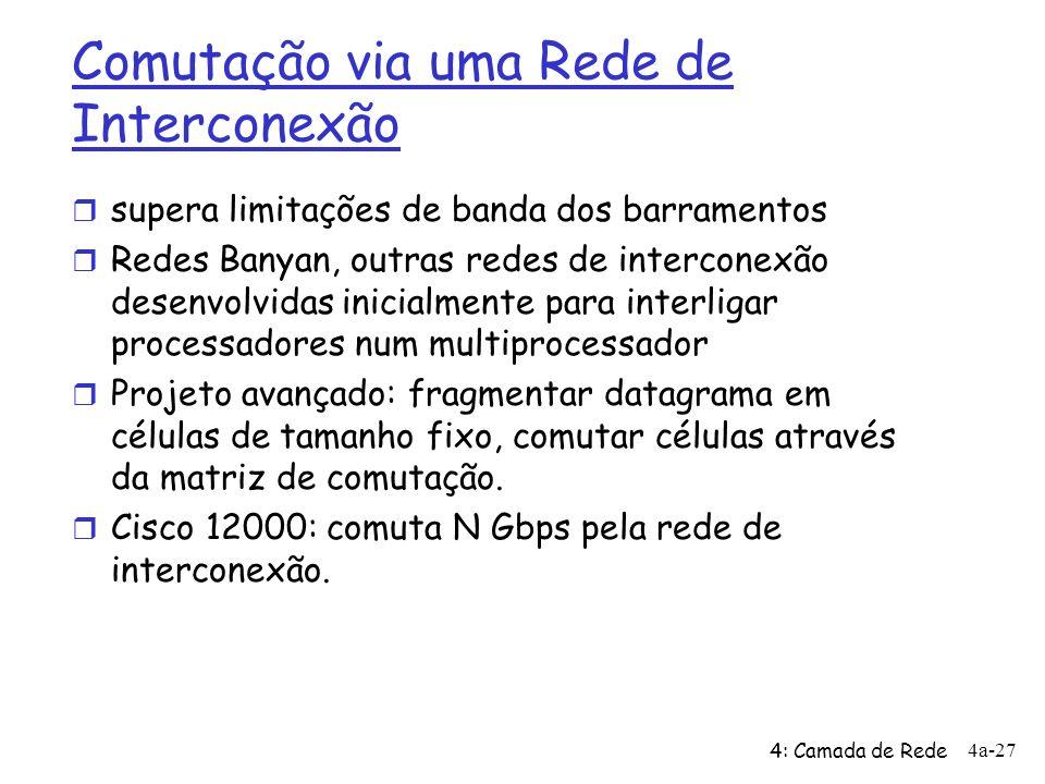 4: Camada de Rede 4a-27 Comutação via uma Rede de Interconexão r supera limitações de banda dos barramentos r Redes Banyan, outras redes de interconex