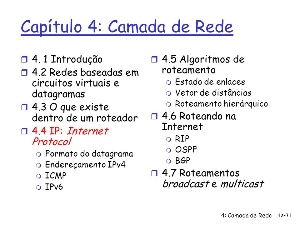 4: Camada de Rede 4a-31 Capítulo 4: Camada de Rede r 4.