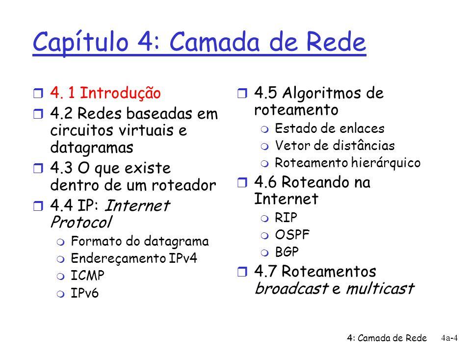 4: Camada de Rede 4a-45 Endereçamento hierárquico: agregação de rotas mande-me qq coisa com endereços que começam com 200.23.16.0/20 200.23.16.0/23200.23.18.0/23200.23.30.0/23 Provedor A Organização 0 Organização 7 Internet Organização n 1 Provedor B mande-me qq coisa com endereços que começam com 199.31.0.0/16 200.23.20.0/23 Organização 2......
