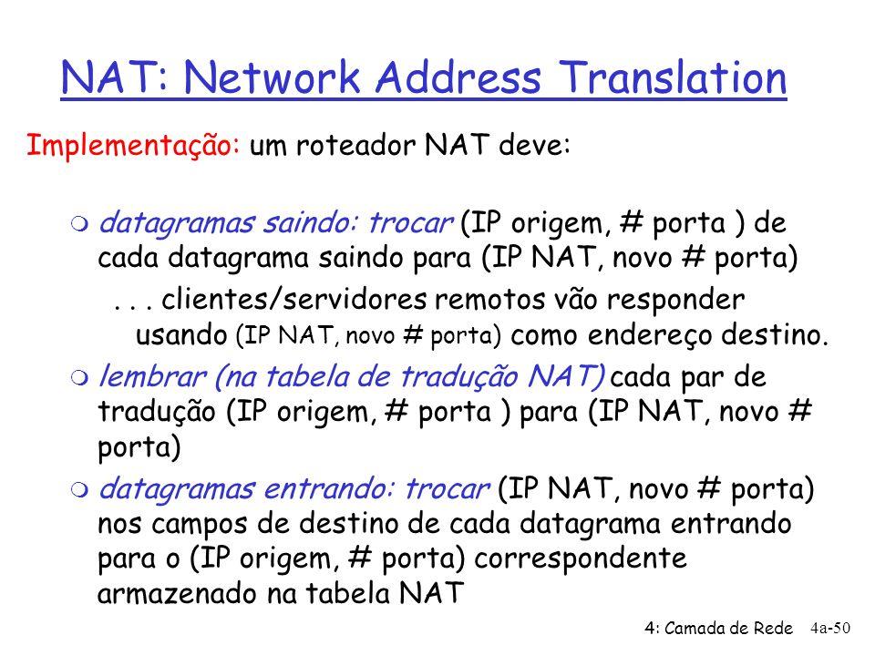 4: Camada de Rede 4a-50 NAT: Network Address Translation Implementação: um roteador NAT deve: m datagramas saindo: trocar (IP origem, # porta ) de cad