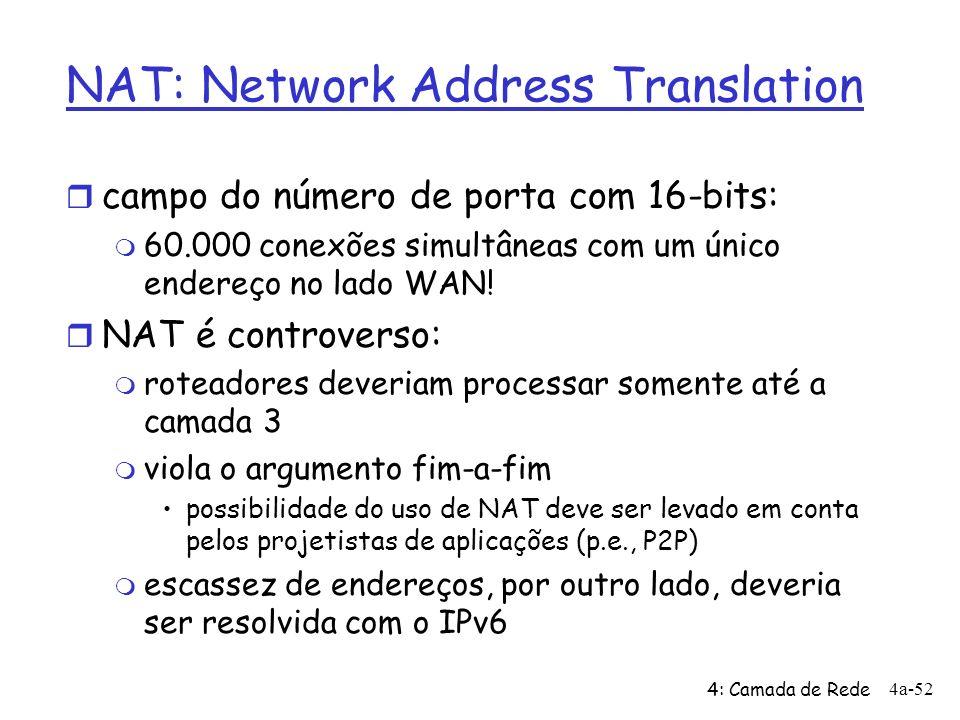 4: Camada de Rede 4a-52 NAT: Network Address Translation r campo do número de porta com 16-bits: m 60.000 conexões simultâneas com um único endereço no lado WAN.