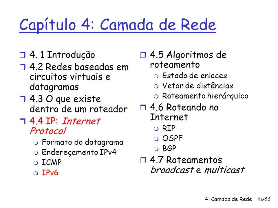 4: Camada de Rede 4a-56 Capítulo 4: Camada de Rede r 4. 1 Introdução r 4.2 Redes baseadas em circuitos virtuais e datagramas r 4.3 O que existe dentro
