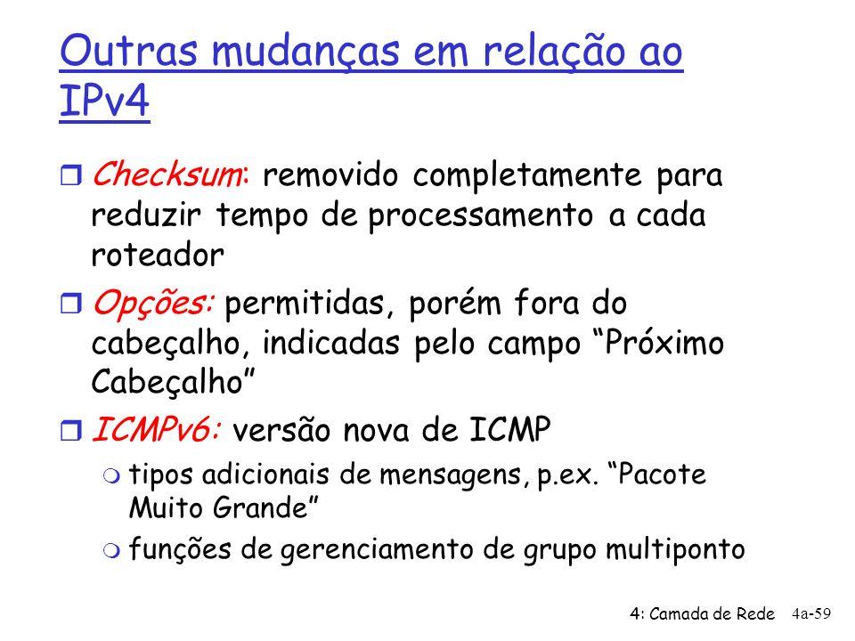 4: Camada de Rede 4a-59 Outras mudanças em relação ao IPv4 r Checksum: removido completamente para reduzir tempo de processamento a cada roteador r Opções: permitidas, porém fora do cabeçalho, indicadas pelo campo Próximo Cabeçalho r ICMPv6: versão nova de ICMP m tipos adicionais de mensagens, p.ex.