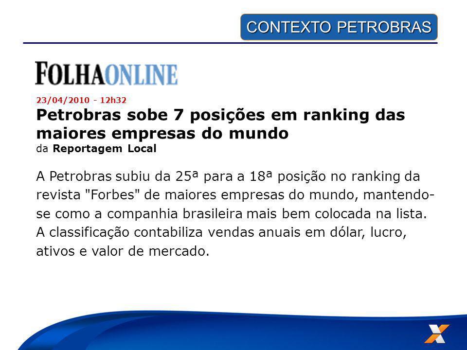 CONTEXTO PETROBRAS CONTEXTO PETROBRAS 23/04/2010 - 12h32 Petrobras sobe 7 posições em ranking das maiores empresas do mundo da Reportagem Local A Petr