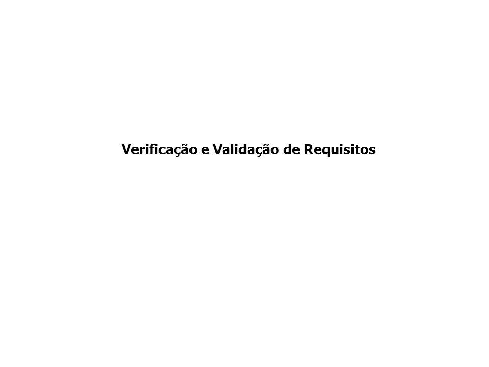 Verificação e Validação dos Requisitos Verificar conflitos de requisitos Verificar consistência de requisitos Verificar completude de requisitos Verificar existência de requisitos ambíguos Analista de Requisitos p/ Inspeção Plano e Casos de Teste Casos de Uso e Esp.