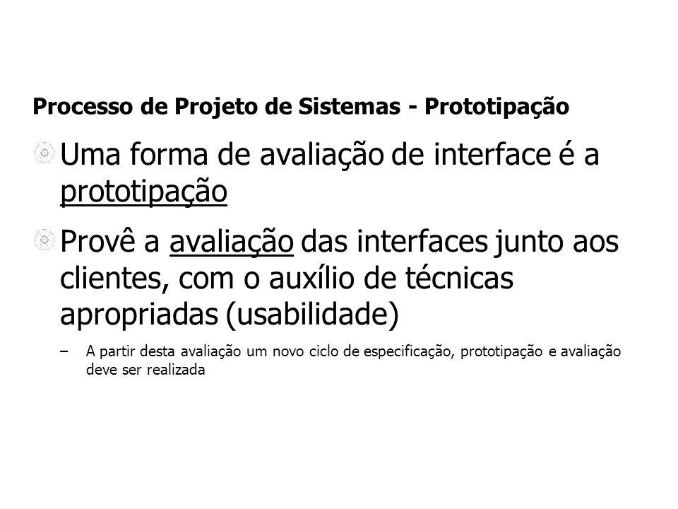 Uma forma de avaliação de interface é a prototipação Provê a avaliação das interfaces junto aos clientes, com o auxílio de técnicas apropriadas (usabilidade) –A partir desta avaliação um novo ciclo de especificação, prototipação e avaliação deve ser realizada