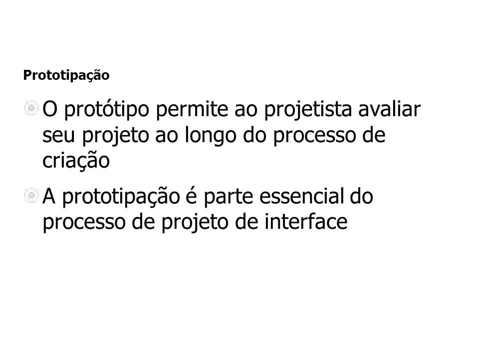 Prototipação O protótipo permite ao projetista avaliar seu projeto ao longo do processo de criação A prototipação é parte essencial do processo de projeto de interface