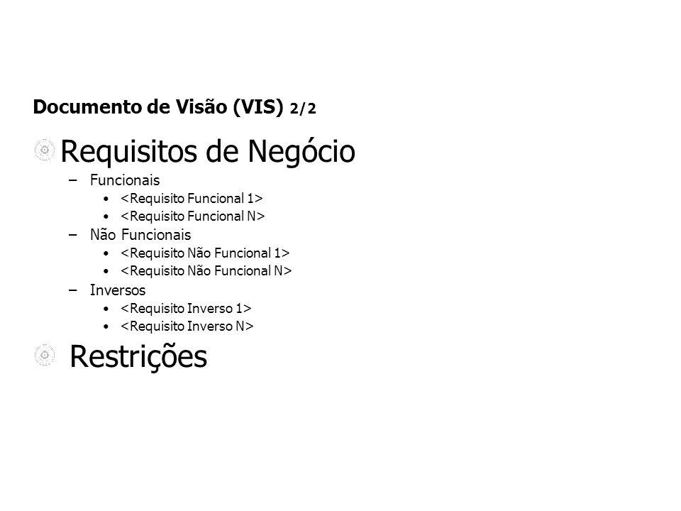 Documento de Visão (VIS) 2/2 Requisitos de Negócio –Funcionais –Não Funcionais –Inversos Restrições