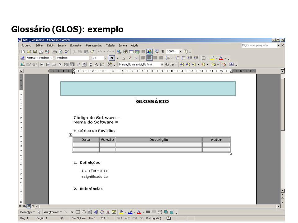 Glossário (GLOS): exemplo