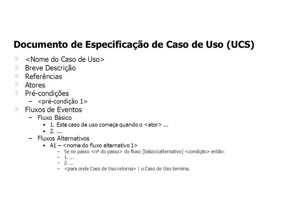 Documento de Especificação de Caso de Uso (UCS) Breve Descrição Referências Atores Pré-condições – Fluxos de Eventos –Fluxo Básico 1.