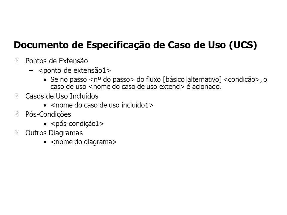 Documento de Especificação de Caso de Uso (UCS) Pontos de Extensão – Se no passo do fluxo [básico|alternativo], o caso de uso é acionado.