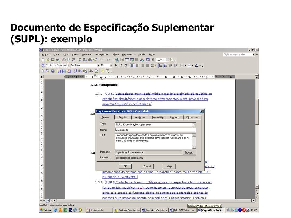 Documento de Especificação Suplementar (SUPL): exemplo