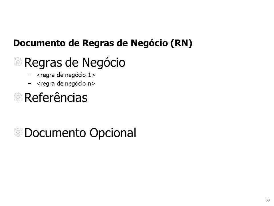 58 Documento de Regras de Negócio (RN) Regras de Negócio – Referências Documento Opcional
