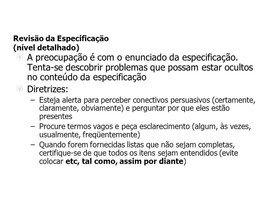 Revisão da Especificação (nível detalhado) A preocupação é com o enunciado da especificação.
