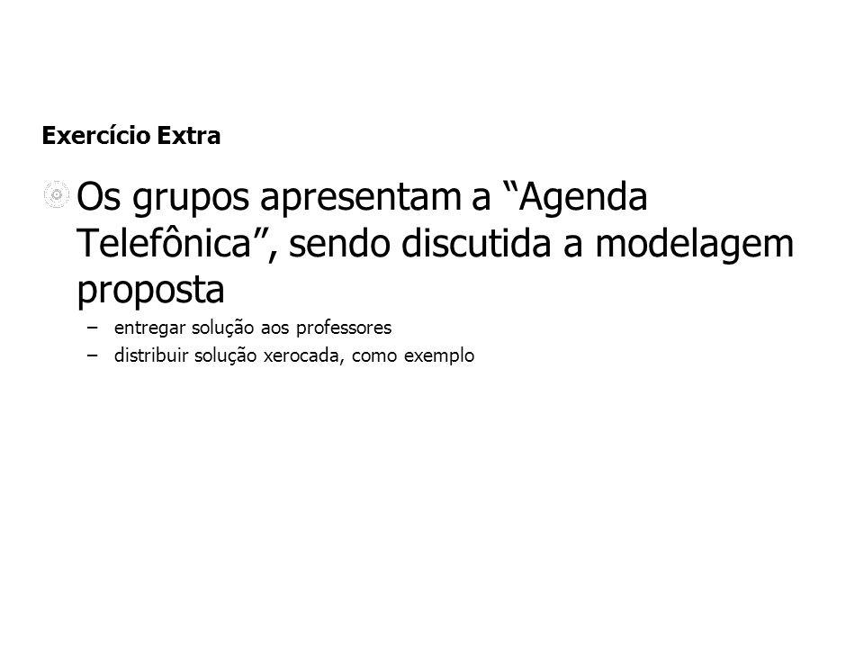 Exercício Extra Os grupos apresentam a Agenda Telefônica, sendo discutida a modelagem proposta –entregar solução aos professores –distribuir solução xerocada, como exemplo