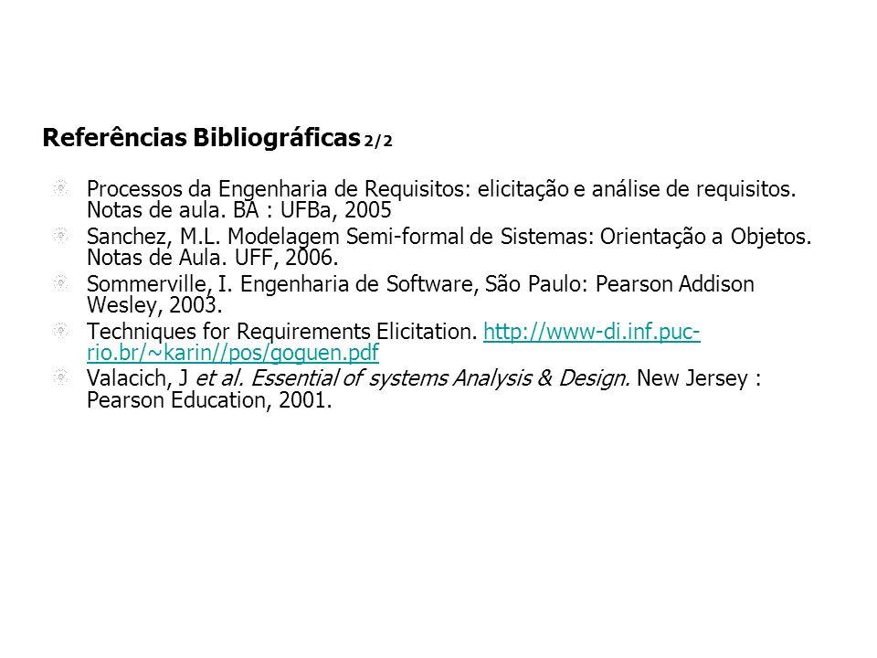 Referências Bibliográficas 2/2 Processos da Engenharia de Requisitos: elicitação e análise de requisitos.
