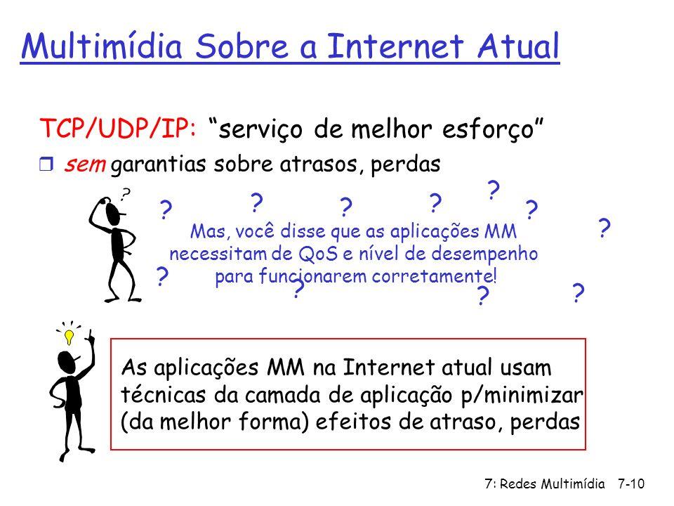 7: Redes Multimídia7-10 Multimídia Sobre a Internet Atual TCP/UDP/IP: serviço de melhor esforço r sem garantias sobre atrasos, perdas As aplicações MM