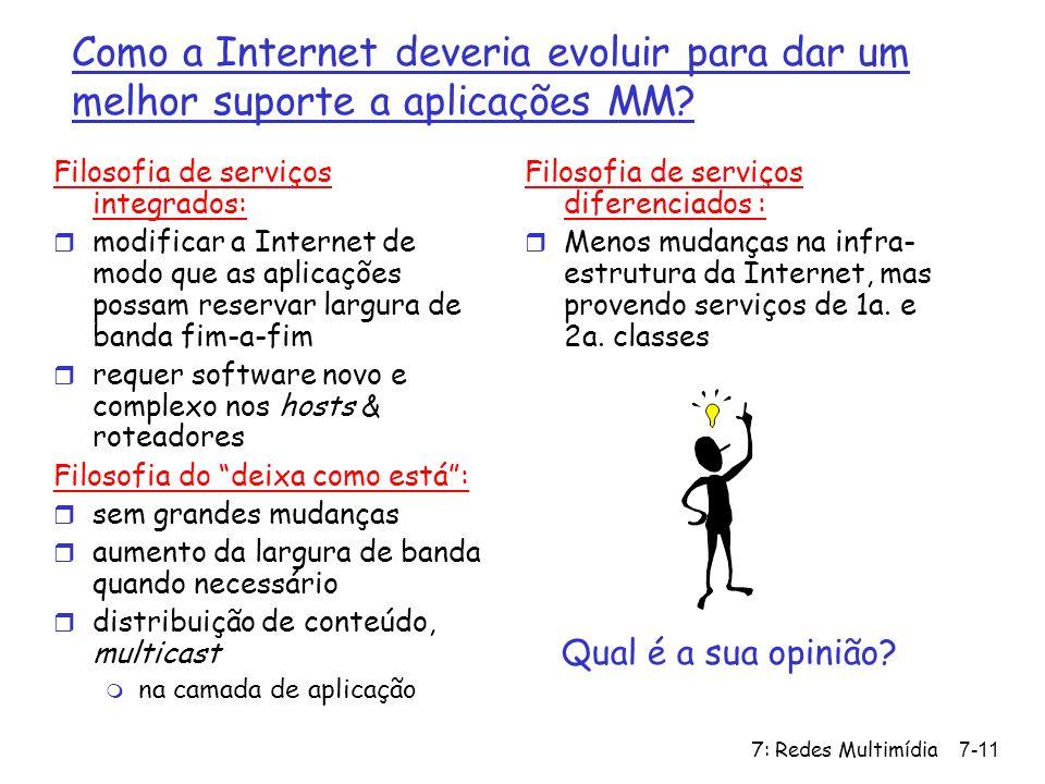 7: Redes Multimídia7-11 Como a Internet deveria evoluir para dar um melhor suporte a aplicações MM? Filosofia de serviços integrados: r modificar a In