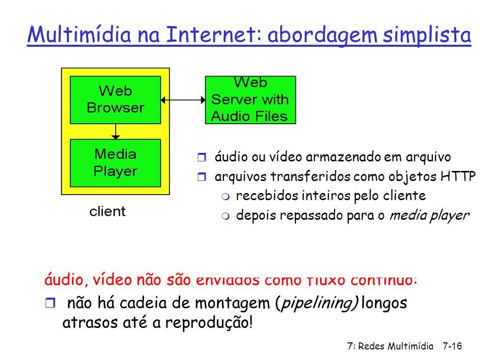7: Redes Multimídia7-16 Multimídia na Internet: abordagem simplista áudio, vídeo não são enviados como fluxo contínuo: r não há cadeia de montagem (pi